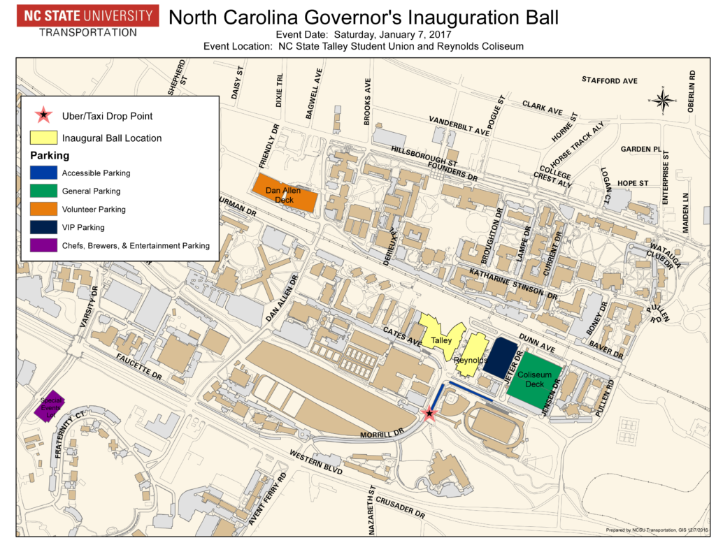 N.C. Governor's Inaugural Ball Parking Map